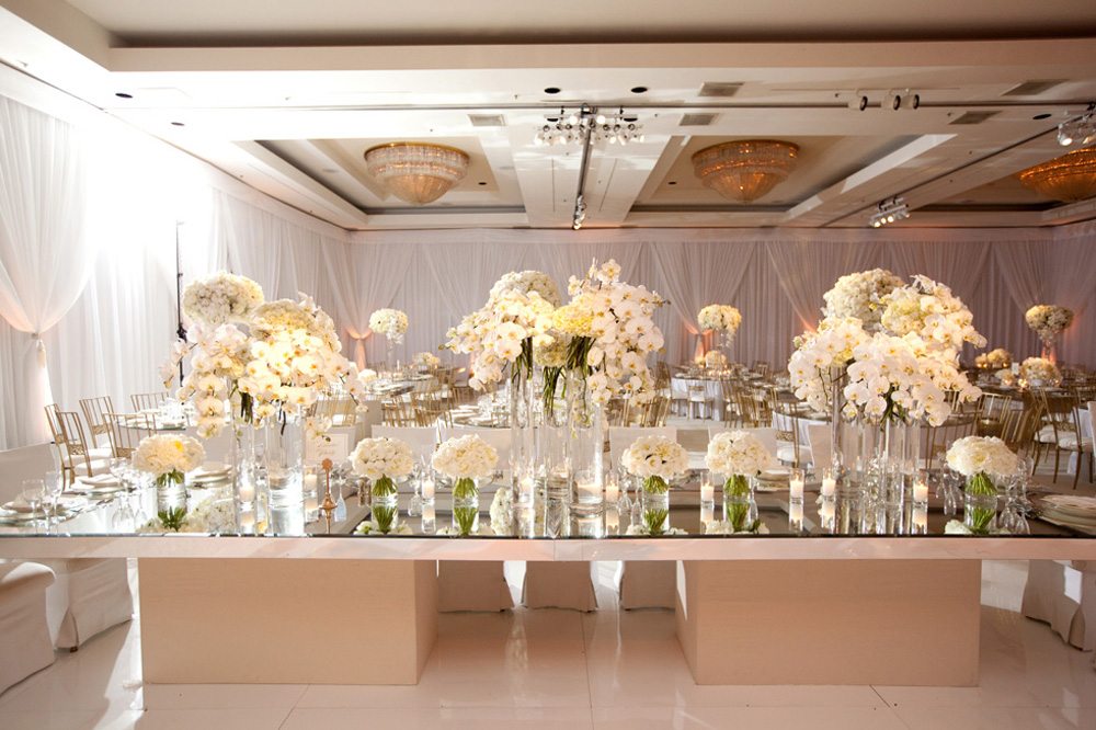 Mirrored head table top wedding lounge for Glass tables for wedding reception