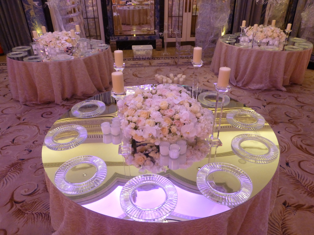 Mirrored Table Tops Wedding Lounge