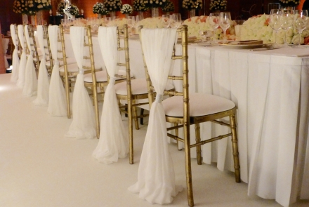 Chair covers, Grecian drapes and accessories