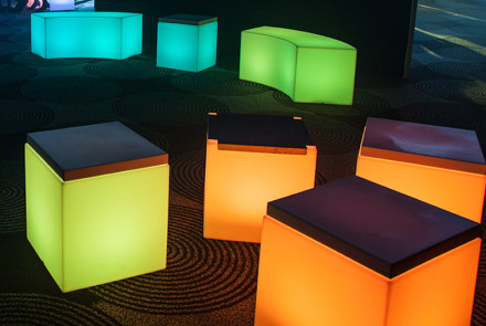 LED benches and cubes