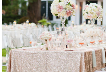 Sequin head table cloth