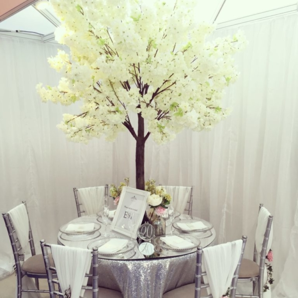Silver sequin tablecloth and blossom tree